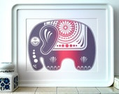 Elephant Screen Print - Original Limited Edition 'Sugar Elephant' in Pink and Purple