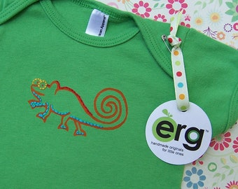 Chameleon Baby Bodysuit, Infant Creeper, One Piece Snapsuit, 3-6 Month Green Short-Sleeve, Screen Printed and Hand Stitched