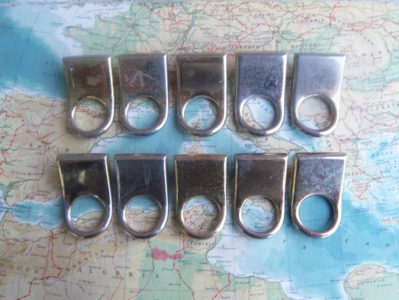 10 vintage distressed shiny brass metal pull handles includes hardware