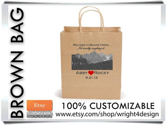 "Set of 10 Custom Designed and Printed Brown Wedding Welcome Bags or Wedding Favor Bag 8"" x 10"""