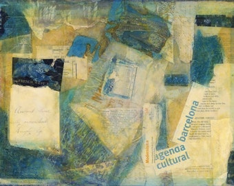 12x16 Barcelona abstract collage art European Inspired