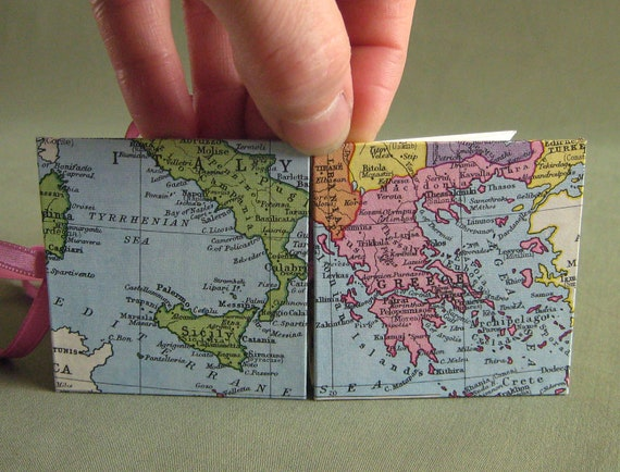 Italy / Greece / Mediterranean Recycled Map Mini Accordion Book or Card by PrairiePeasant
