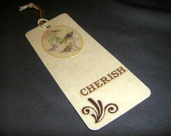 Cherish Bookmark - birds butterfly flower glitter