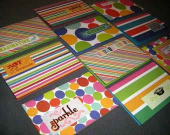 Ten Colorful Geometric gift tags mini cards