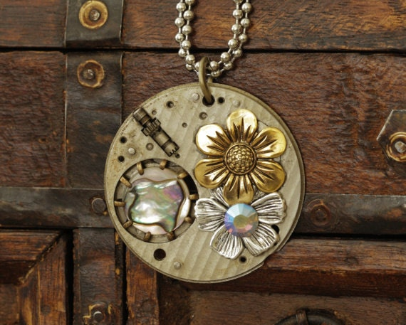 Steampunk Necklace, Nature Inspired, Flowers, Mother of Pearl, Vintage Watch Parts, Upcycled, Recycled Jewelry, Edwardian, Cosplay, OOAK