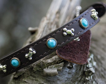 Brown Leather Collar // Leather Dog Collar // Leather Collar // Dog Collar // Collar with Bones // Collar with Turquoise // Pet Collar
