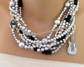 1940's inspired Rock and Roll weddings Bridal Silver Pearl Necklace