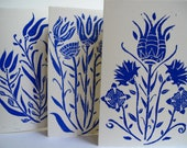 SALE Turkish Tulip Iznik Card Series of Three in Cobalt Blue