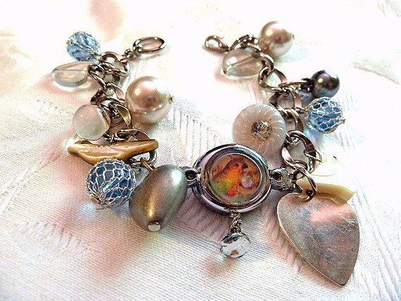 Buttons and Birds Upcycled Watch Case Charm Bracelet