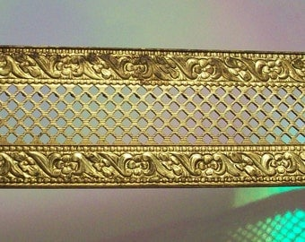 One Foot of Vintage Solid Brass Filigree Trim Decorative Brass Banding This Trim Is One Inch Wide Brass Filigree Banding Filigree Trim