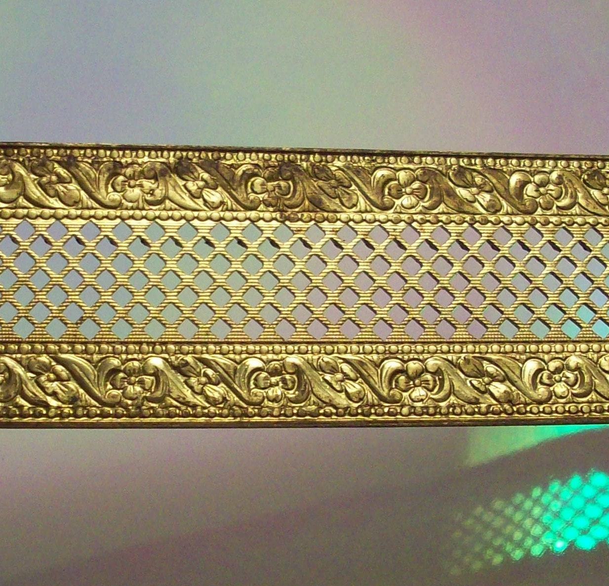 One foot of vintage solid brass filigree trim decorative