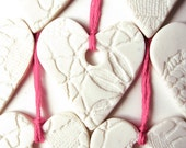 3 for 2 SALE - Set of 10 Pretty Handmade Valentines Ornaments - Valentines Day gift Pretty Pink & White Porcelain Ceramic Heart Decorations