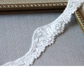 """1.5"""" OFF WHITE Stretch Lace Trim,  Scallopped Floral Elastic Lace  for ligerie, headbands, bridal garters - 5 yards"""