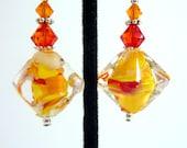 Yellow Glass Earrings, Orange Yellow Red Orange Glass Beaded Earrings, Handmade Lampwork Earrings, Fun, Sunny Delight