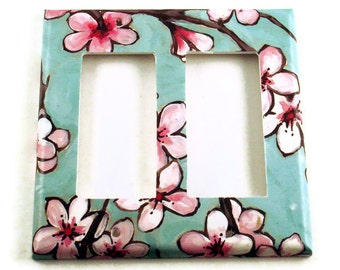 Double Rocker Light Switch Cover Wall Decor  Switchplate in  Watercolor Blossoms  (170DR)