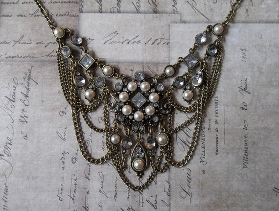 Belle Époque Oxidized Gold Pearl Cabochon And Rhinestone Bib Necklace With Chain Swags, Game Of Thrones Inspired