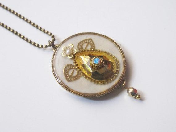 Gold crystal elegant reversible pendant, Israel jewelry.