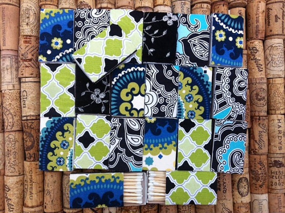 12 Blue Moroccan Style Fabric Matchboxes