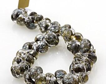 10 Teardrop Handmade Lampwork Beads Glitter series Fossil (21877)