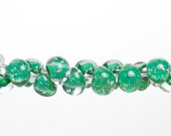 10 Teardrop Handmade Lampwork Beads - Shamrock (22046)