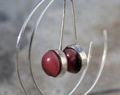 Reverse Silver Hoops with Pink Bezel Set Handmade Glass