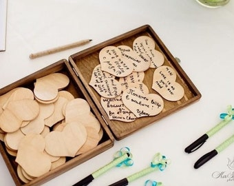 Wedding Guest Book Alternative Engraved Rustic Wedding  Wood Box Personalized Set for 75 guests - Item 1327