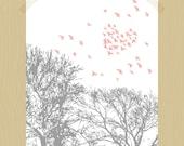 Printable Love is in the Air 8 x 10 Bird Print Heart-Shaped Flock of Birds Nursery Art Nursery Print Baby Girl Print Print Blush Pink Gray