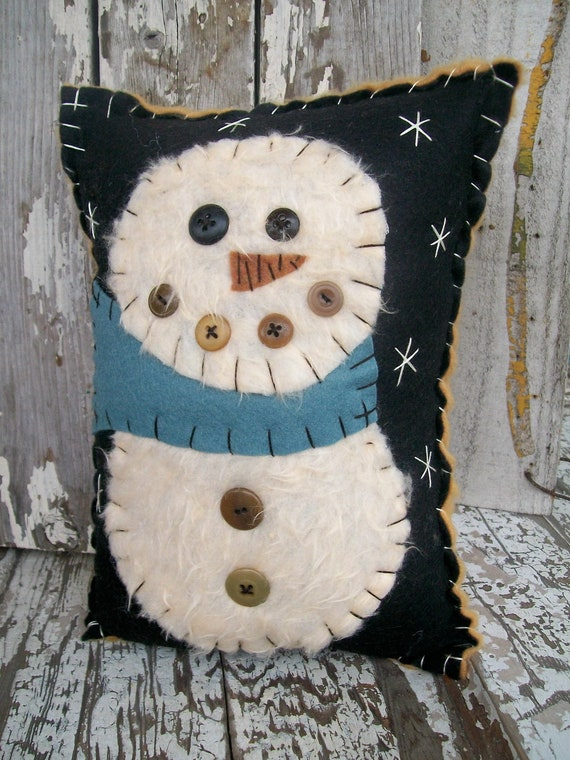 Fuzzy Snowman Pillow
