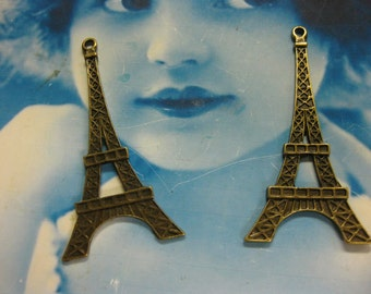 Bronze Ox Patina  Large Grand Eiffel Tower Pendants 629BRZ x2