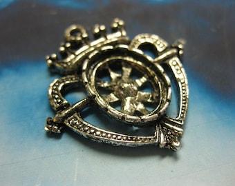 Gunmetal Black Ornate Heart and Crown Penedants 621SIL x2