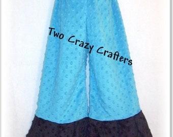 Blue Turquoise Minky Dot Pants with Black Minky Dot Cuff Size 4T Ready to Ship