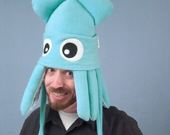 Squid Hat Plush Fleece Medium Light Turquoise