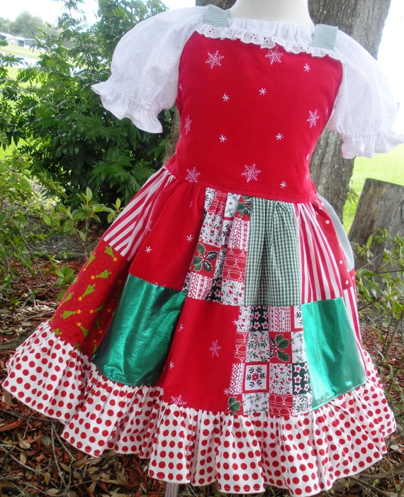 Custom Boutique Red Green Jumper Dress Girl 3 4 5  Ready to Ship Christmas Free Shipping