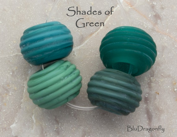 Handmade Lampwork Slider Beads - BluDragonfly SRA - Fits Troll, Biagi and Chamilia - Shades of Green