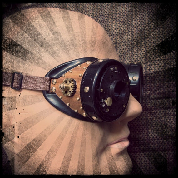 Steampunk goggles with camera iris and wood sides