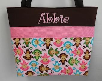 Zoologie Monkeys in Pink  ....Diaper Bag .. Monogrammed FREE