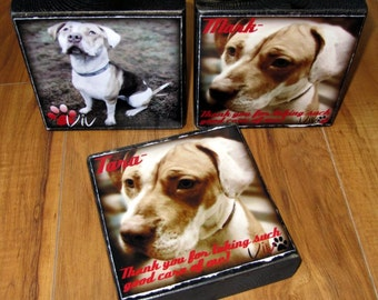 Pet LOVER Block- Larger Photo block- per block price- add your pooch's (or cat's) name- phrase- remembrance