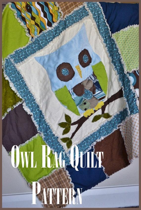 Rag Quilt Owl Pattern : Owl Quilt Pattern Owl Rag Quilt Baby Boy Crib Blanket Baby