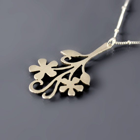 Brushed Silver Flower Necklace - Floral Branch - Nature Jewelry