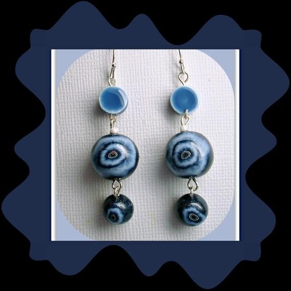 Denim Blue Drop Earrings, polymer clay jewelry