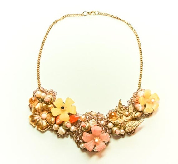 Posies and Wings Collar Necklace-One of a Kind Collage Statement Jewelry-Reserved for M