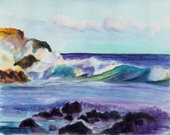 large surf art print 8x10 kauai hawaii maui hawaiian ocean waves seascape art kauai beach paintings