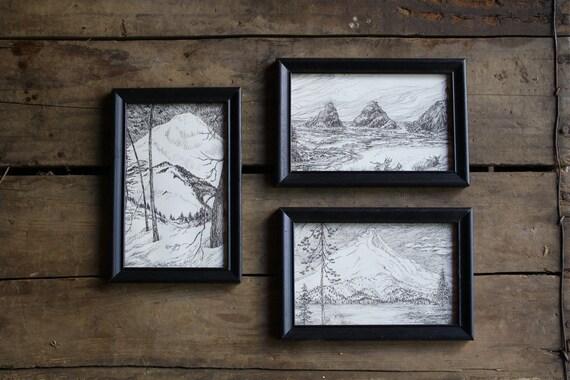 Vintage drawings oregon landscapes