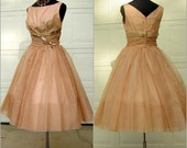 Vintage 50s Full Skirted Chiffon Party Dress - Ashes of Roses / Pink -  B40 W 28 - Medium to Small