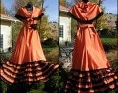 Vintage 1920s Evening Gown Festive Orange Black - 3 pcs Original - Taffeta & Net Lace - S