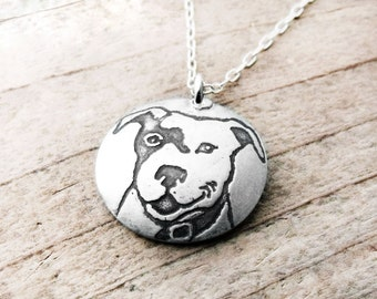 Smiling Pit Bull necklace, silver dog jewelry,  pit bull jewelry, pit bull pendant, memorial jewelry, dog lover