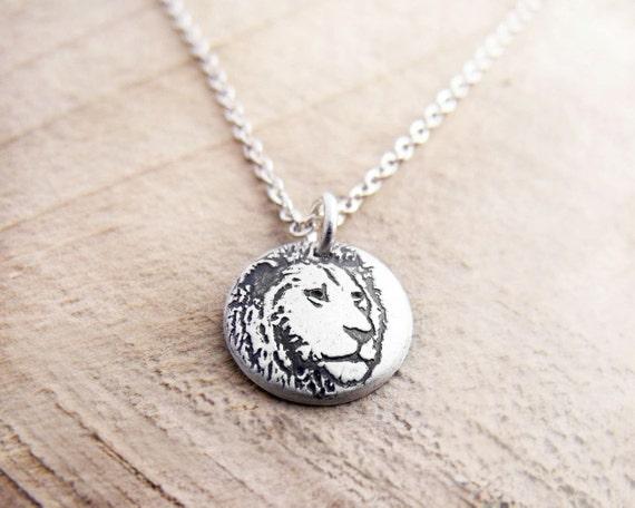 Tiny lion necklace, silver lion jewelry, leo necklace, leo jewelry