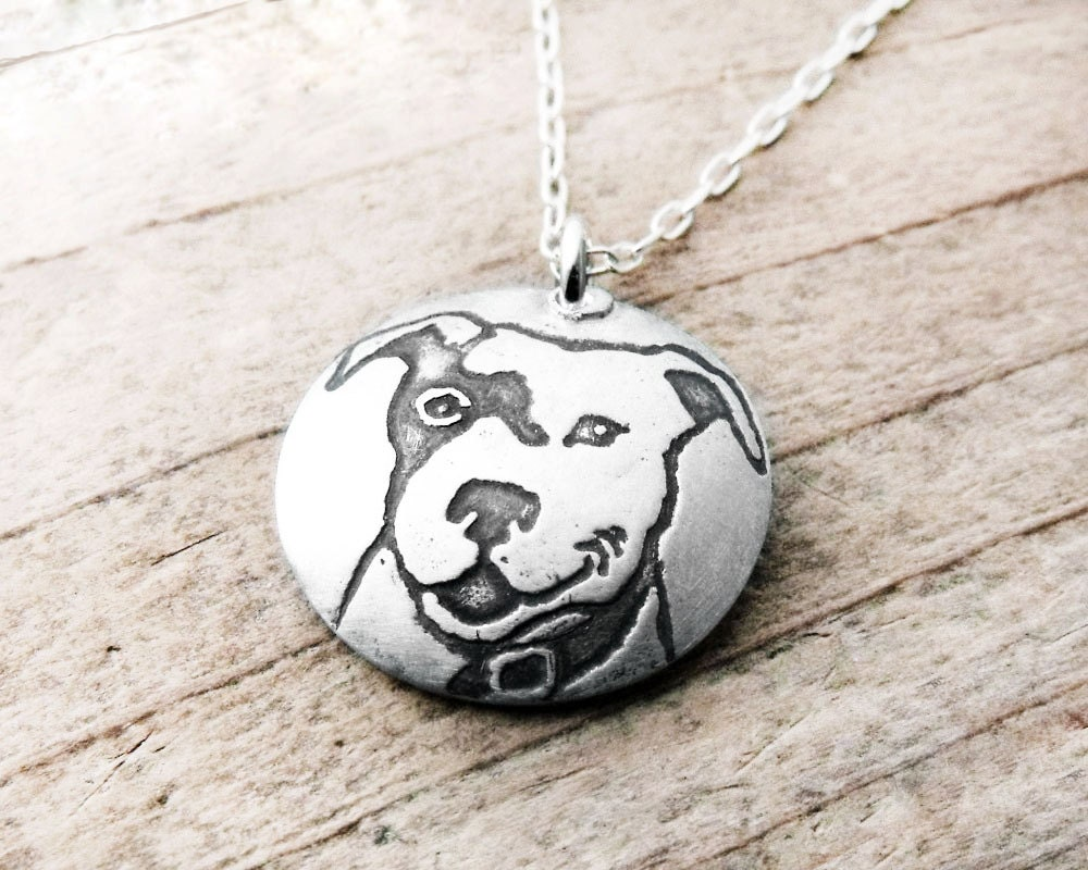 pitbull jewelry smiling pit bull necklace silver jewelry pit bull 9185
