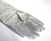 Long Silver Lame' Vintage Gloves NIP