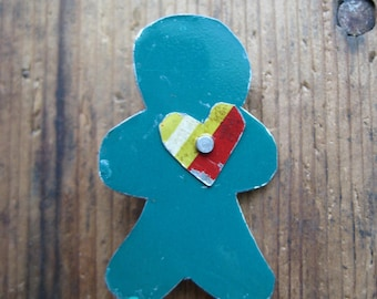 Vintage Reclaimed Upcycled Tin Gingerbread man Brooch, Gifts under 10, Gifts for Her, Christmas Jewelry